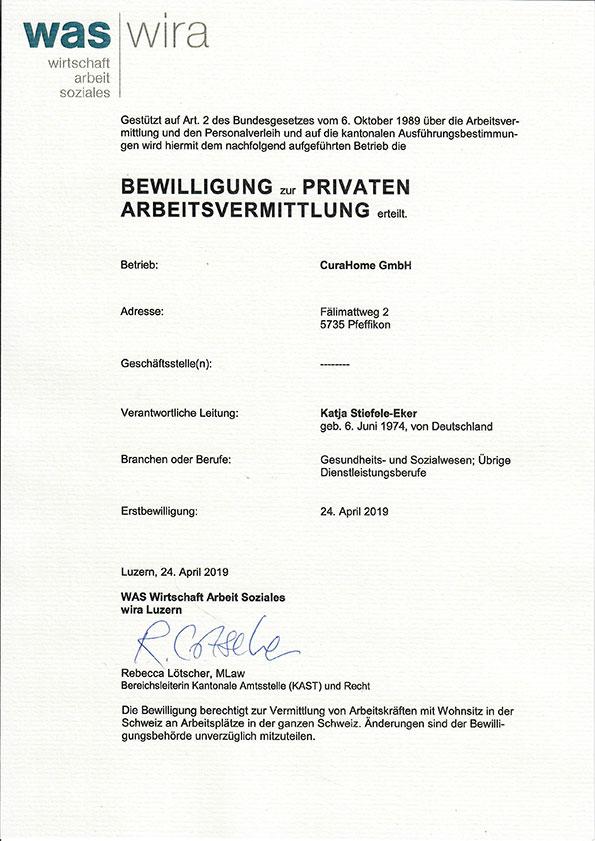 Bewilligung zur privaten Arbeitsvermittlung