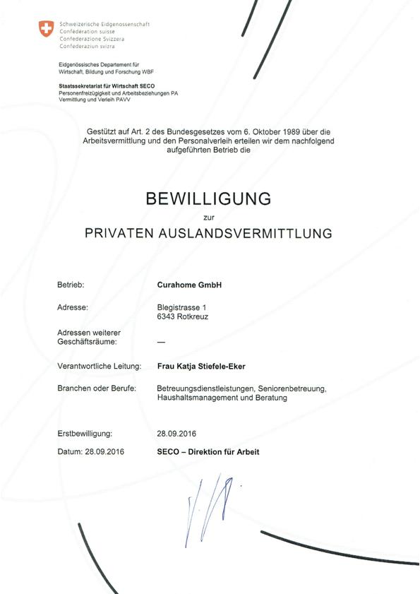 Bewilligung zur Privaten Auslandsvermittlung